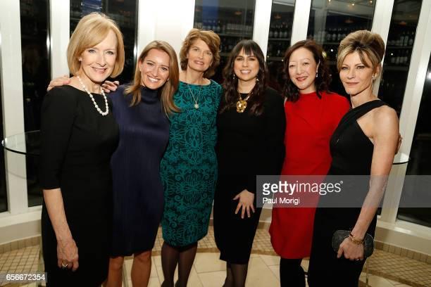Honorees Judy Woodruff Katy Tur Sen Lisa Murkowski Meighan Stone Rhea Suh and ELLE EditorinChief Robbie Myers attend ELLE and Bottega Veneta Women in...