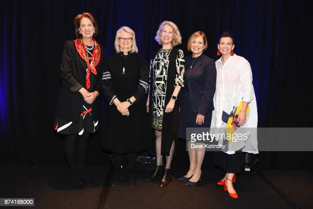 Honorees Julie Talbott Geraldine Laybourne Kathleen Finch Susan Swain and Amy Emmerich pose onstage at Women Who Lead presented by Alliance For Women...