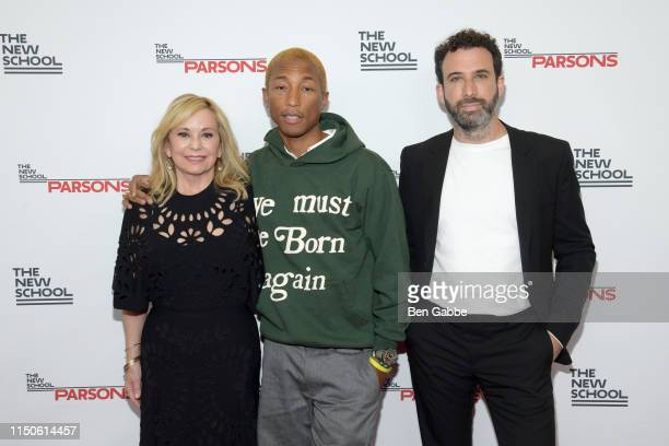 Honorees Julie Wainwright, Pharrell Williams, and Michael Preysman attend the 71st Annual Parsons Benefit honoring Pharrell, Everlane, StitchFix &...