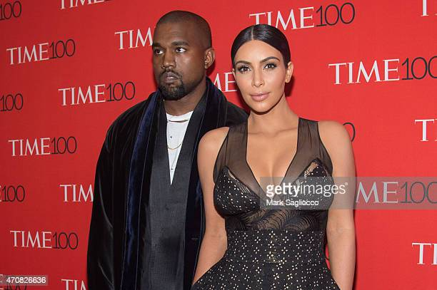 Honorees Kanye West and Kim Kardashian attend the 2015 Time 100 Gala at Frederick P Rose Jazz Hall at Lincoln Center on April 21 2015 in New York City