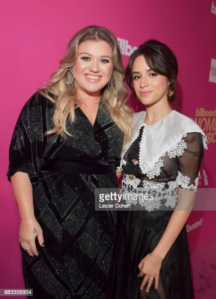 Honorees Kelly Clarkson and Camila Cabello attend Billboard Women In Music 2017 at The Ray Dolby Ballroom at Hollywood Highland Center on November 30...