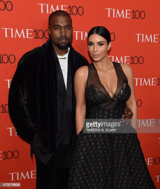 Honorees Kim Kardashian and Kanye West attend the Time 100 Gala celebrating the Time 100 issue of the Most Influential People at The World at Jazz at...