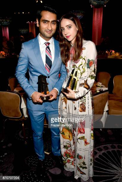 Honorees Kumail Nanjiani and Zoe Kazan corecipients of the Hollywood Comedy Ensemble Award for 'The Big Sick' attend the 21st Annual Hollywood Film...