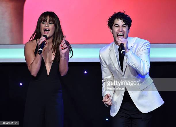 Honorees Lea Michele and Darren Criss perform onstage during the Family Equality Council's 2015 Los Angeles Awards dinner at The Beverly Hilton Hotel...