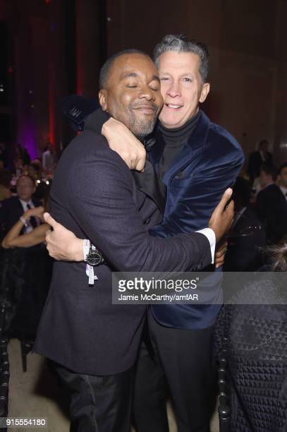 Honorees Lee Daniels and Stefano Tonchi attend the 2018 amfAR Gala New York at Cipriani Wall Street on February 7 2018 in New York City