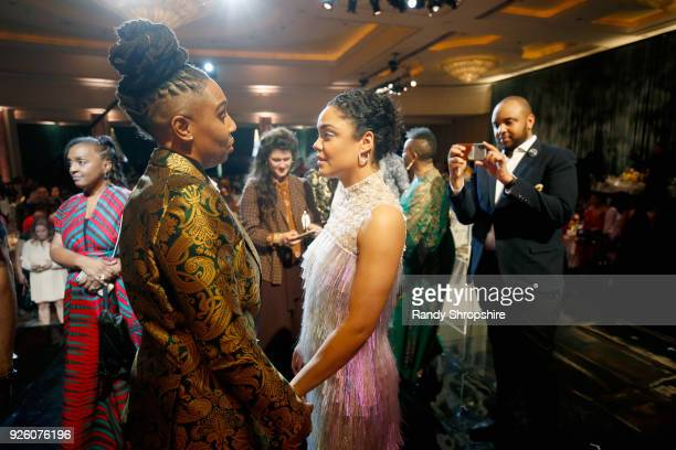 Honorees Lena Waithe and Tessa Thompson attend the 2018 Essence Black Women In Hollywood Oscars Luncheon at Regent Beverly Wilshire Hotel on March 1...