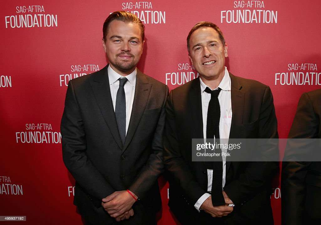 Honorees Leonardo DiCaprio (L) and David O. Russell attend the Screen Actors Guild Foundation 30th Anniversary Celebration at Wallis Annenberg Center for the Performing Arts on November 5, 2015 in Beverly Hills, California.