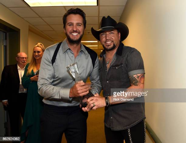 Honorees Luke Bryan and Jason Aldean backstage at the 2017 CMT Artists Of The Year on October 18, 2017 in Nashville, Tennessee.