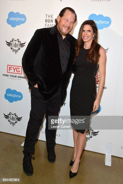 Honorees Marc Benioff and Lynne Benioff attend william's iamangel Foundation TRANS4M 2017 Gala at The Future Milk Studios on February 9 2017 in...