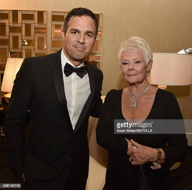 Honorees Mark Ruffalo and Dame Judi Dench attend the BAFTA Los Angeles Jaguar Britannia Awards presented by BBC America and United Airlines at The...
