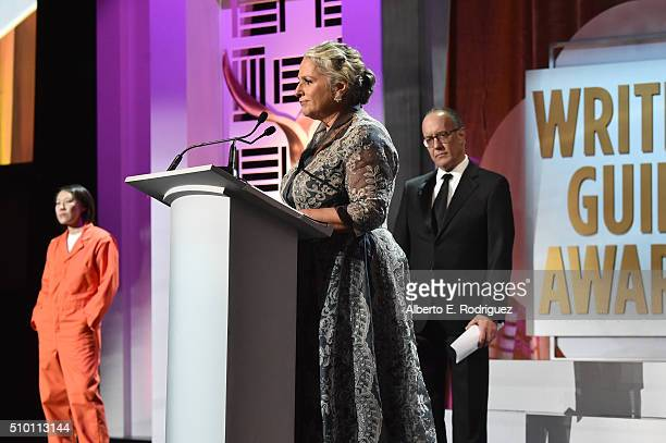 Honorees Marta Kauffman and David Crane accept the Paddy Chayefsky Laurel Award for Television Writing Achievement onstage during the 2016 Writers...
