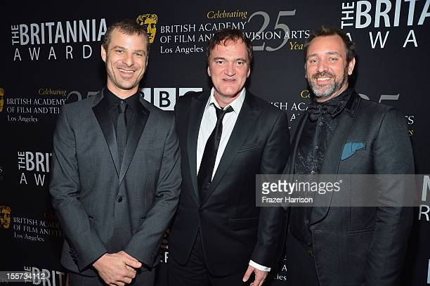 Honorees Matt Stone Quentin Tarantino and Trey Parker arrive at the 2012 BAFTA Los Angeles Britannia Awards Presented By BBC AMERICA at The Beverly...