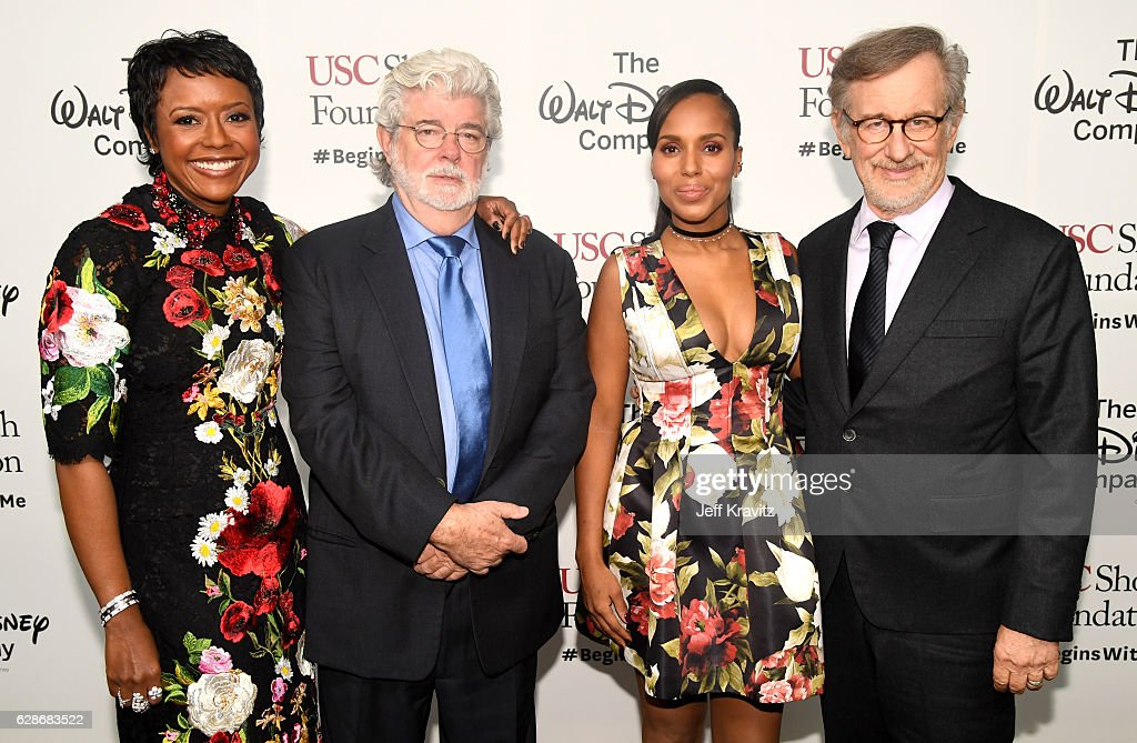 Honorees Mellody Hobson and George Lucas, actress and founder, actress Kerry Washington and USC Shoah Foundation Steven Spielberg attend Ambassadors for Humanity Gala Benefiting USC Shoah Foundation at The Ray Dolby Ballroom at Hollywood & Highland Center on December 8, 2016 in Hollywood, California.