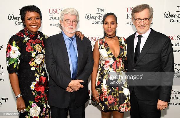 Honorees Mellody Hobson and George Lucas, actress and founder, actress Kerry Washington and USC Shoah Foundation Steven Spielberg attend Ambassadors...