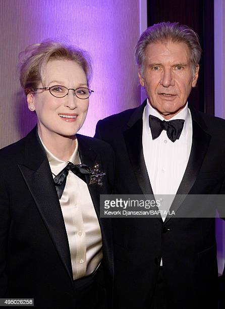 Honorees Meryl Streep and Harrison Ford attend the 2015 Jaguar Land Rover British Academy Britannia Awards presented by American Airlines at The...