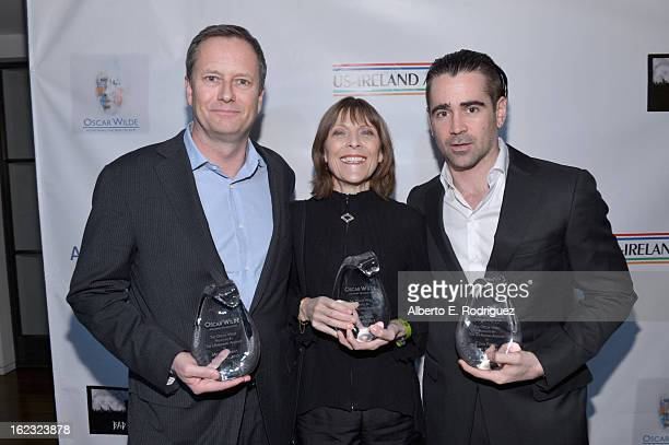 Honorees Michael R Burns Vice Chairman of Lions Gate Entertainment's Board of Directors makeup artist Michele Burke and actor Colin Farrell attend...