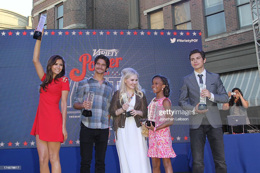 Honorees Nina Dobrev, Tyler Posey, Abigail Breslin, Quvenzhane Wallis, and Jake T. Austin attend Variety's Power of Youth presented by Hasbro, Inc. and generationOn at Universal Studios Backlot on July 27, 2013 in Universal City, California.