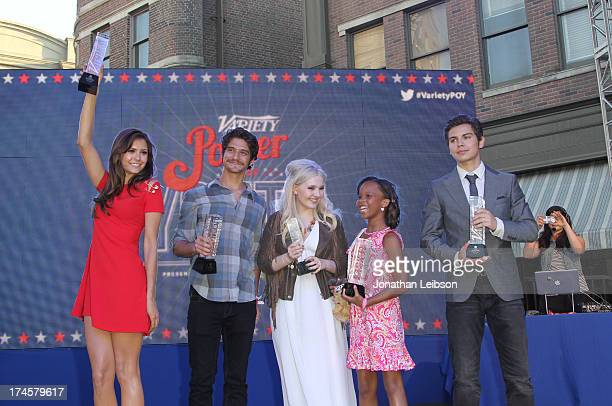 Honorees Nina Dobrev Tyler Posey Abigail Breslin Quvenzhane Wallis and Jake T Austin attend Variety's Power of Youth presented by Hasbro Inc and...