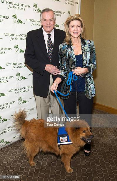 Honorees Peter Marshall Laurie Marshall and their dog Teddybear attend the 'Joy To The Animals' luncheon and fundraiser at Universal City Hilton...