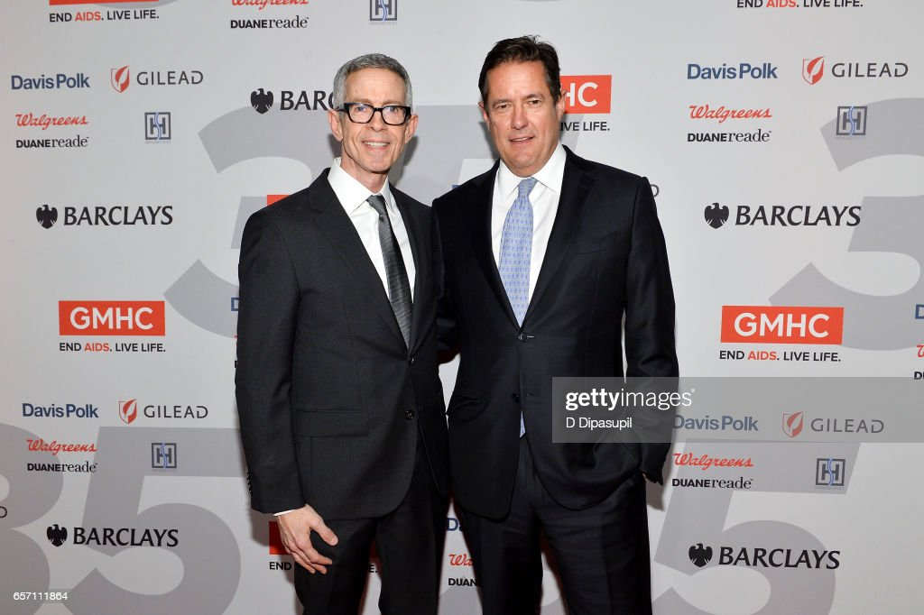 Honorees Peter Staley (L) and Jes Staley attend the GMHC 35th Anniversary Spring Gala at Highline Stages on March 23, 2017 in New York City.