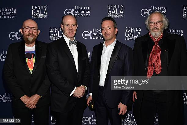 Honorees Physicist Kip Thorne and Paleontologist Jack Horner pose with Steve Howe and Brent Saunders at the Liberty Science Center's Genius Gala 50...