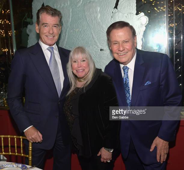 Honorees Pierce Brosnan Marvin Scott and Lorri Scott attend the 2018 Innovation Gala where Chemotherapy Foundation honors Actor Producer and...
