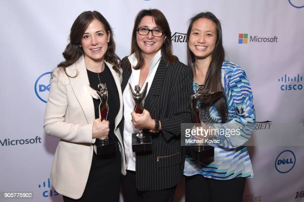 Honorees Poppy Crum Victoria Alonso and Annie Chang pose with the Distinguished Leadership Award at the Advanced Imaging Society 2018 Lumiere...