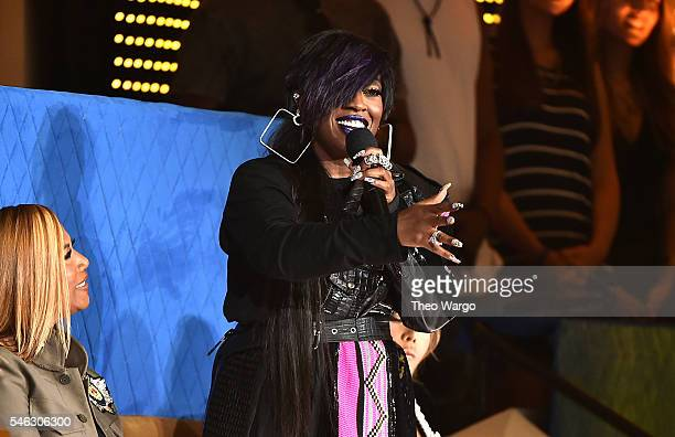 Honorees Queen Latifah and Missy Elliott watch show during the VH1 Hip Hop Honors All Hail The Queens at David Geffen Hall on July 11 2016 in New...