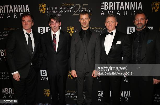 Honorees Quentin Tarantino Will Wright Matt Stone Daniel Craig and Trey Parker pose in the Honoree Green Room during the 2012 BAFTA Los Angeles...
