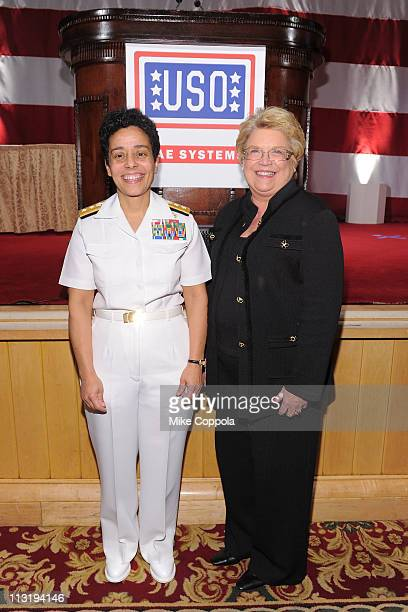 Honorees Rear Admiral Michelle Howard and CEO of BAE Systems Inc Linda Parker Hudson attend the USO 45th Annual Woman Of The Year Luncheon honoring...