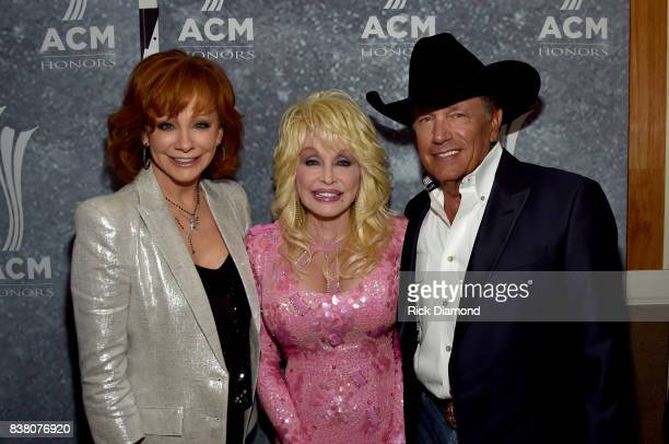 Honorees Reba McEntire Dolly Parton and George Strait attend the 11th Annual ACM Honors at the Ryman Auditorium on August 23 2017 in Nashville...