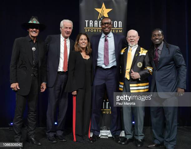Honorees Richard Petty Jim Lonborg Julie Foudy Paul Pierce Don Cherry and Deion Branch onstage at the Sports Museum 'The Tradition' annual gala at TD...