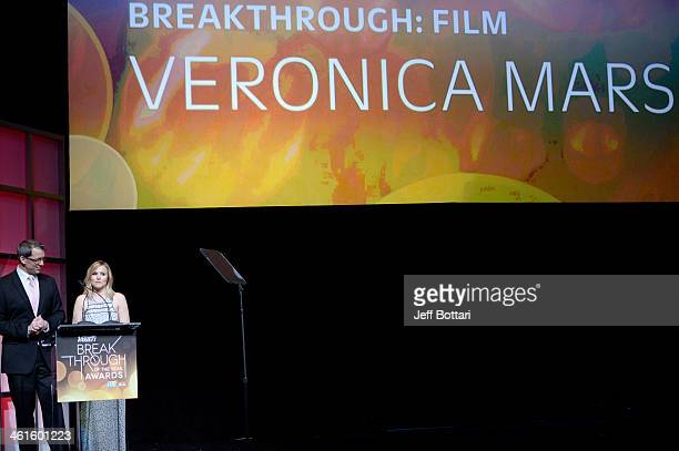 Honorees Rob Thomas and Kristen Bell accept the Breakthrough Award for Film for 'Veronica Mars' onstage at the Variety Breakthrough of the Year...