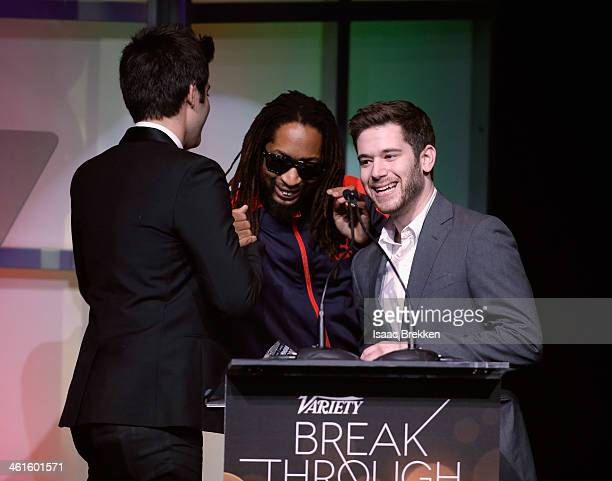 Honorees Rus Yusupov and Colin Kroll accept the Breakthrough Award for Emerging Technology from rapper Lil Jon onstage at the Variety Breakthrough of...