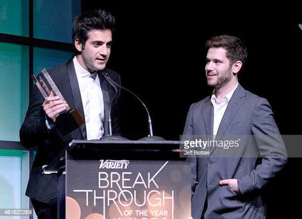 Honorees Rus Yusupov and Colin Kroll accept the Breakthrough Award for Emerging Technology onstage at the Variety Breakthrough of the Year Awards...