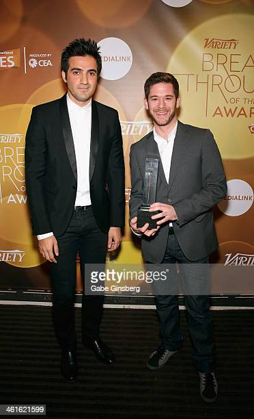 Honorees Rus Yusupov and Colin Kroll pose with the Breakthrough Award for Emerging Technology at the Variety Breakthrough of the Year Awards during...