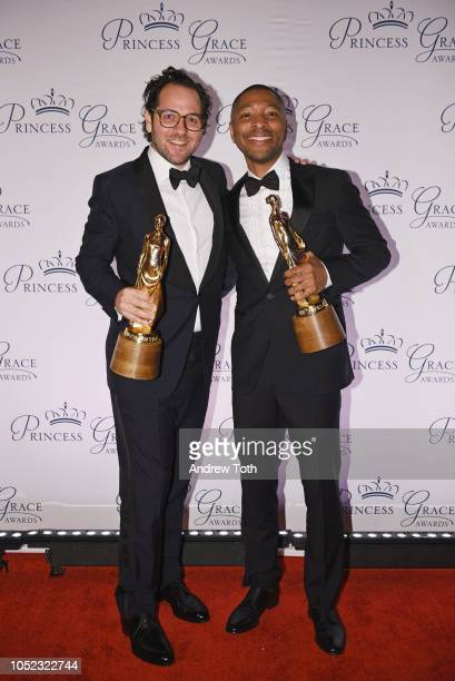 Honorees Sam Gold and Kyle Abraham pose with their awards backstage during the 2018 Princess Grace Awards Gala at Cipriani 25 Broadway on October 16...