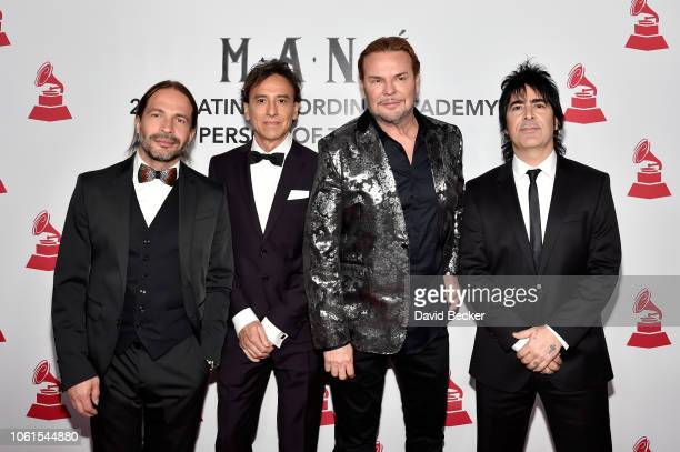 Honorees Sergio Vallin Juan Calleros Fher Olvera and Alex Gonzalez of Mana attend the Person of the Year Gala honoring Mana during the 19th annual...