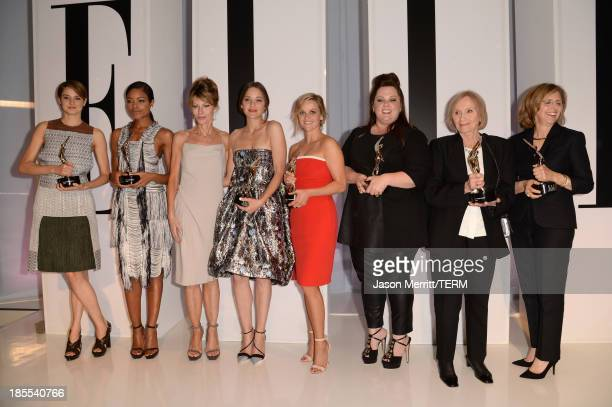 Honorees Shailene Woodley and Naomie Harris ELLE Editor in Chief Robbie Myers and honorees Marion Cotillard Reese Witherspoon Melissa McCarthy Eva...