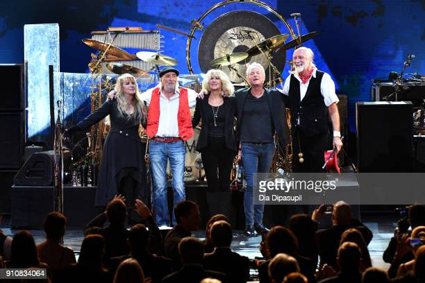 Honorees Stevie Nicks John McVie Christine McVie Lindsey Buckingham and Mick Fleetwood of Fleetwood Mac seen onstage during MusiCares Person of the...