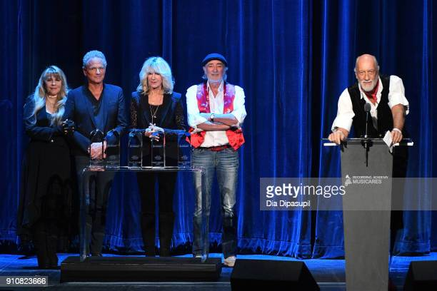 Honorees Stevie Nicks Lindsey Buckingham Christine McVie John McVie and Mick Fleetwood of Fleetwood Mac accept the MusiCares Person of the Year award...