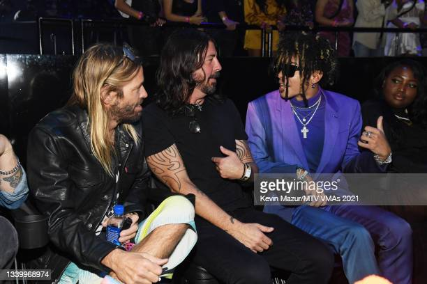 Honorees Taylor Hawkins and Dave Grohl of Foo Fighters and Iann Dior attend the 2021 MTV Video Music Awards at Barclays Center on September 12, 2021...
