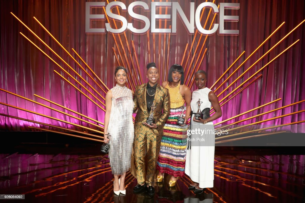 Honorees Tessa Thompson, Lena Waithe, Tiffany Haddish and Danai Gurira onstage during the 2018 Essence Black Women In Hollywood Oscars Luncheon at Regent Beverly Wilshire Hotel on March 1, 2018 in Beverly Hills, California.