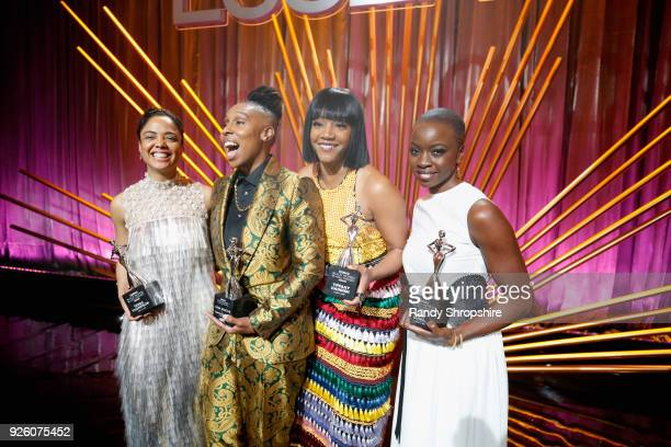 Honorees Tessa Thompson Lena Waithe Tiffany Haddish and Danai Gurira onstage during the 2018 Essence Black Women In Hollywood Oscars Luncheon at...