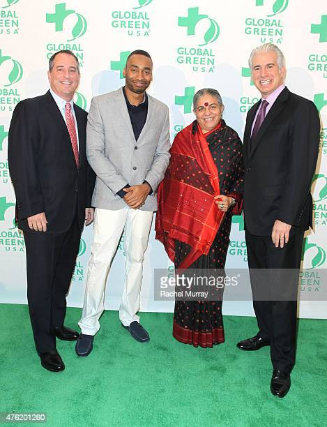 Honorees The Angeleno Group CoFounder Yaniv Tepper Prince Ea Dr Vandana Shiva and The Angeleno Group CoFounder Daniel Weiss attend the Global Green...
