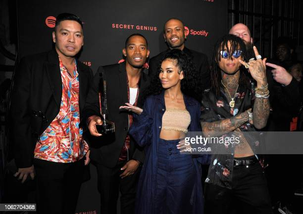 Honorees The Stereotypes Jhene Aiko and Swae Lee attend Spotify's Secret Genius Awards hosted by NEYO at The Theatre at Ace Hotel on November 16 2018...