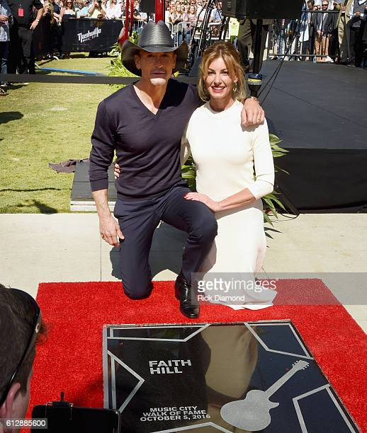 Honorees Tim McGraw And Faith Hill during the Nashville Music City Walk Of Fame Induction Ceremony at Nashville Music City Walk of Fame on October 5...