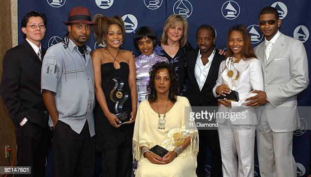 Honorees TLC Chilli TBoz with The Family of Lisa Left Eye Lopes Brother Ron Sister Raina and Mother Wanda LopesColeman are joined by Phil Tan Jan...