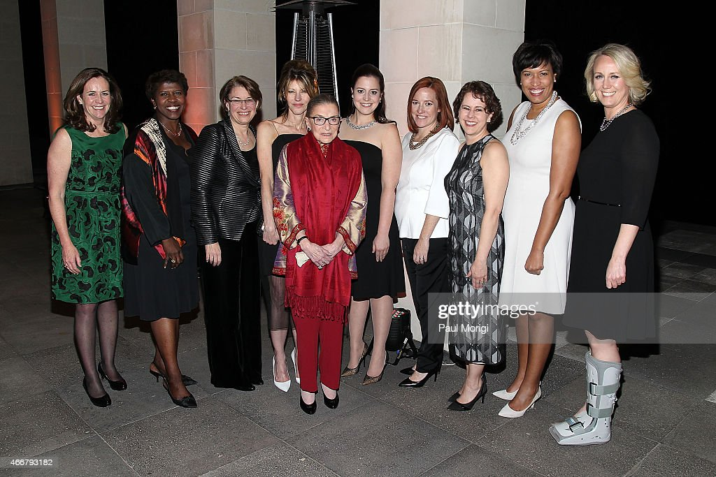 Honorees Va. First Lady Dorothy McAuliffe, Gwen Ifills, Sen. Amy Klobuchar, Justice Ruth Bader Ginsberg, Rep. Elise Stefanik, Jen Psaki, Cecilia Munoz, DC Mayor Muriel Bowser and Stephanie Schriock pose for a photo with Robbie Myers (C), Editor-in-Chief, ELLE, at the ELLE and HUGO BOSS Women in Washington Power List Dinner at The Residence of the German Ambassador on March 18, 2015 in Washington, DC.