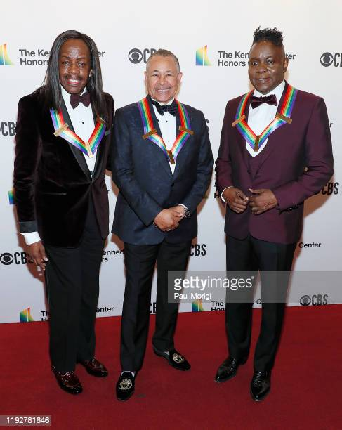 Honorees Verdine White Ralph Johnson and Philip Bailey of Earth Wind Fire attends the 42nd Annual Kennedy Center Honors at Kennedy Center Hall of...